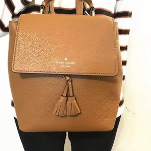 Kate Spade Hayes Medium Leather Backpack Ginger